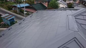 飯田市鼎 トタン屋根塗装ウッドピース完成3
