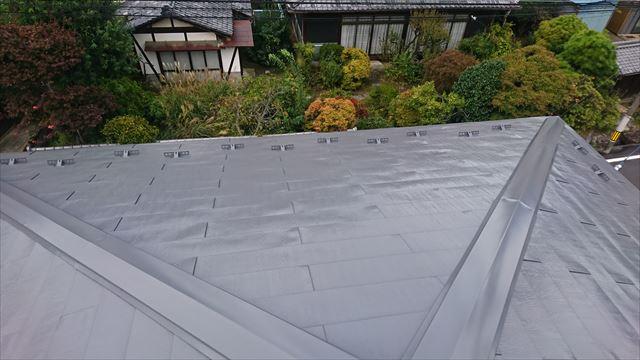 飯田市鼎 トタン屋根塗装ウッドピース完成1