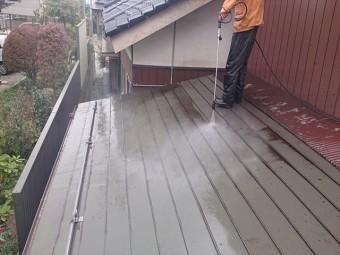 長野県駒ケ根市トタン屋根塗装洗浄2