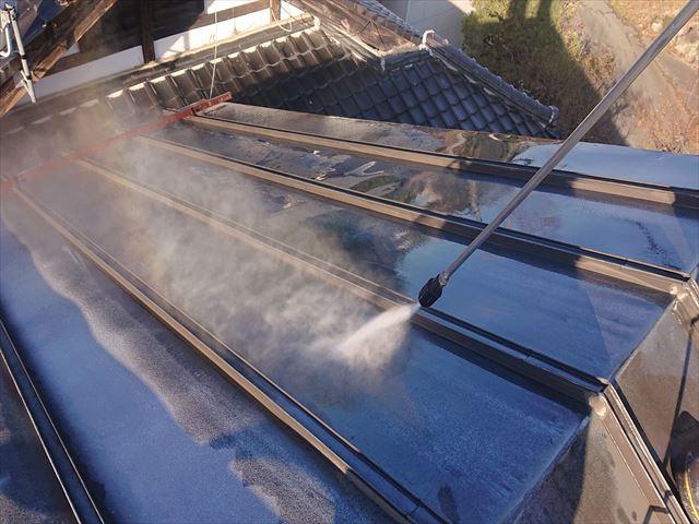 長野県下條村トタン屋根洗浄4
