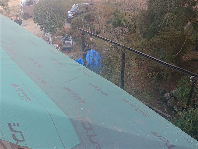 下條村下屋根張替え1