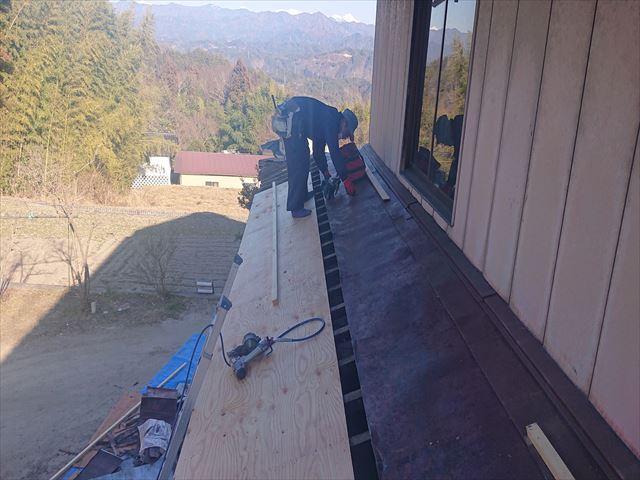 下條村下屋根張替え3
