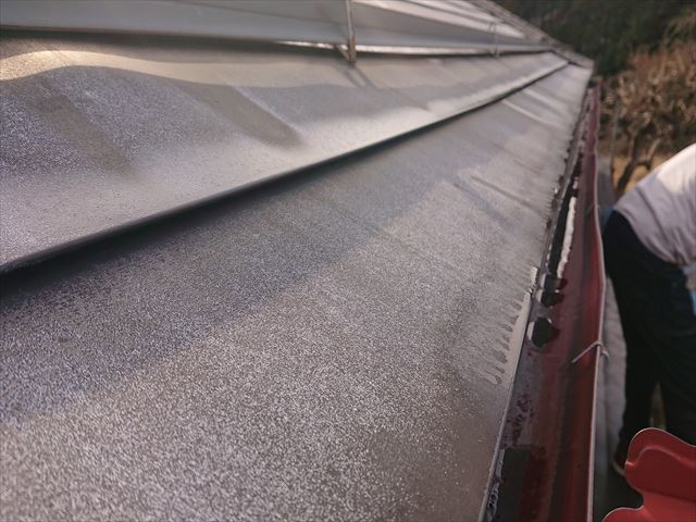 下條村白錆屋根塗装1