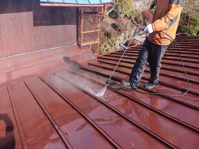 飯田市大瀬木トタン屋根洗浄5