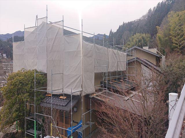 下條村外壁トタン屋根塗装足場10