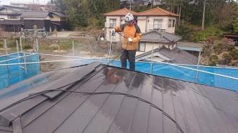 飯田市駄科トタン屋根外壁洗浄3