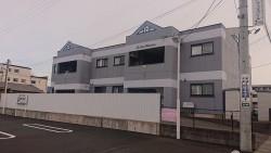 塩尻市アパート外壁足場1