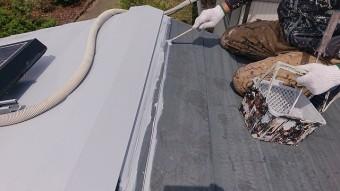 飯田市大瀬木倉庫屋根遮熱中塗り1