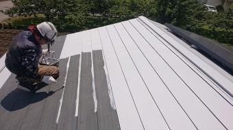 飯田市大瀬木倉庫屋根遮熱中塗り4