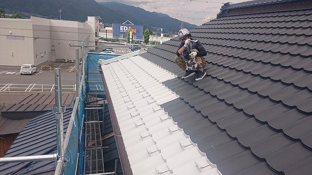 飯田市大瀬木金属瓦中塗り5