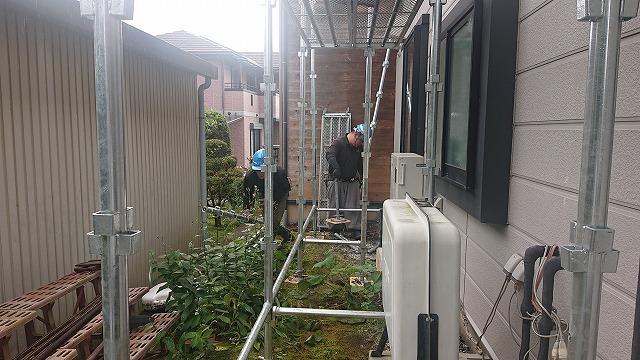 飯田市上殿岡 屋根外壁木部塗装足場2