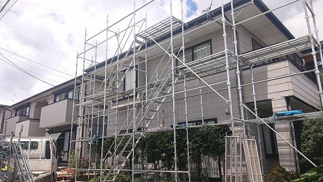 飯田市上殿岡 屋根外壁木部塗装足場3