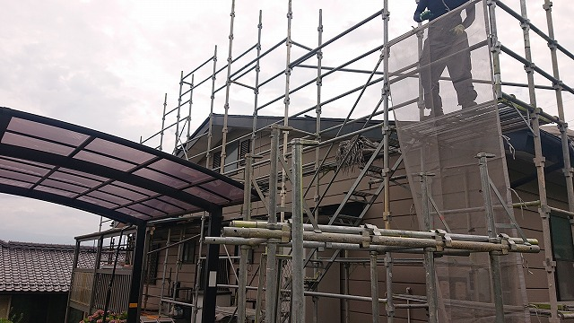 飯田市北方屋根外壁塗装 足場8