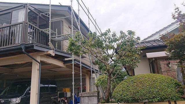 飯田市北方屋根外壁塗装 足場9