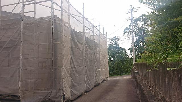 飯田市北方屋根外壁塗装 足場11
