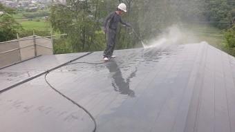 飯田市北方屋根外壁塗装 洗浄2