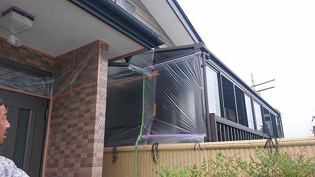 飯田市北方屋根外壁塗装 養生1