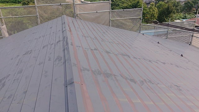 飯田市北方屋根外壁塗装 屋根中塗り1