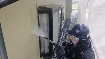 飯田市北方モルタル外壁洗浄1
