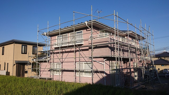 飯田市北方外壁塗装足場作業2