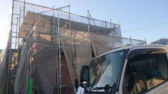 飯田市北方外壁塗装足場作業4