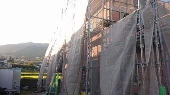 飯田市北方外壁塗装足場作業5