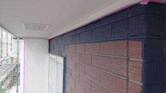 飯田市北方外壁塗中塗り作業4