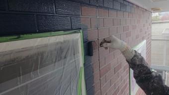 飯田市北方外壁塗中塗り作業5