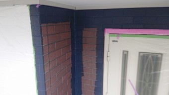 飯田市北方外壁塗中塗り作業7
