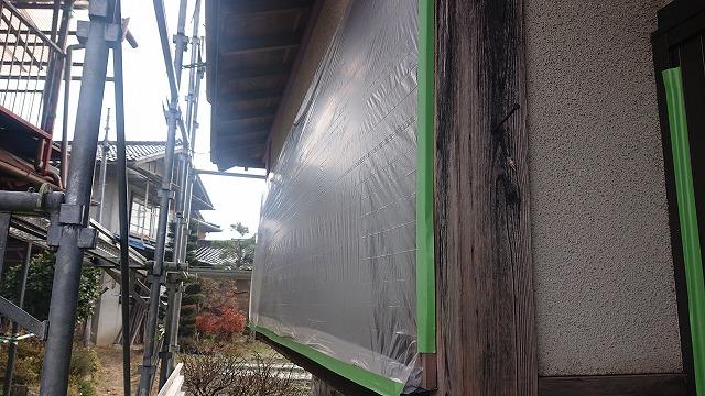 飯田市下久堅外壁塗装養生1