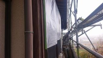 飯田市下久堅外壁塗装養生2