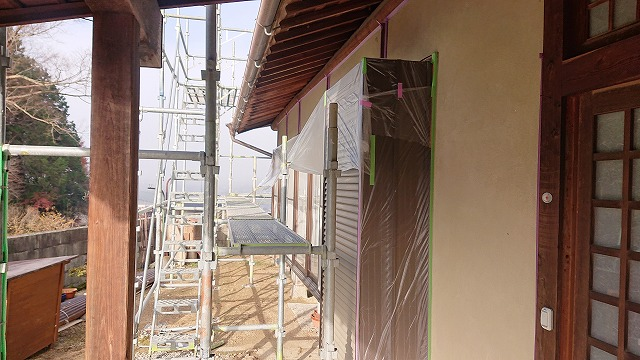 飯田市下久堅外壁塗装養生3
