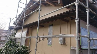 飯田市下久堅外壁塗装中塗り3