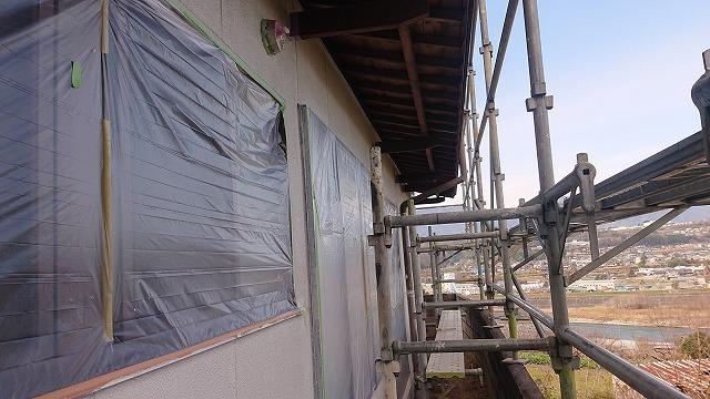 飯田市下久堅外壁塗装中塗り5