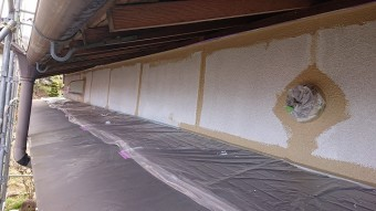 飯田市下久堅外壁塗装中塗り6