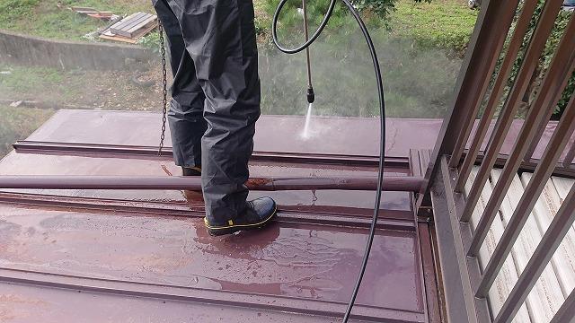 飯田市北方 トタン屋根洗浄3