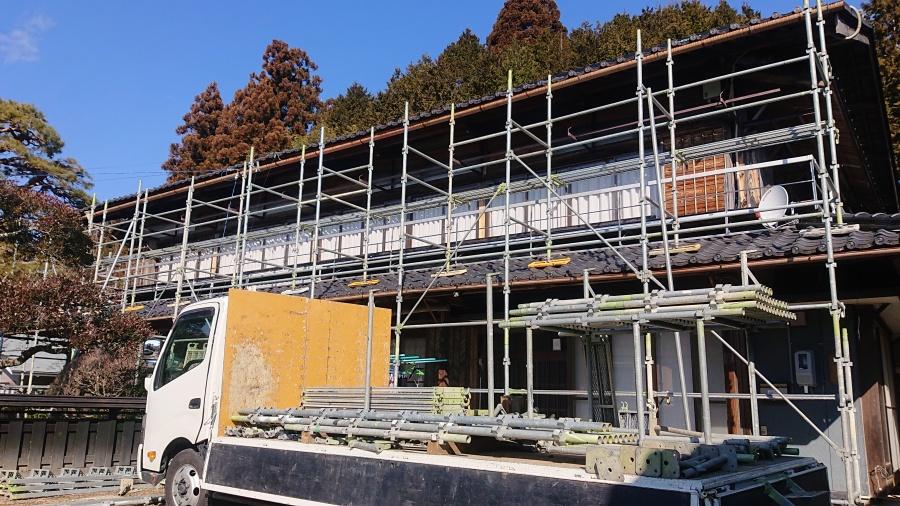 長野県下伊那郡 下條村 大型雨樋交換工事 雨樋撤去作業が開始されました。