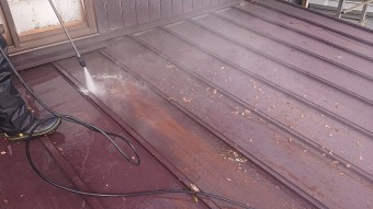 飯田市北方 トタン屋根洗浄4