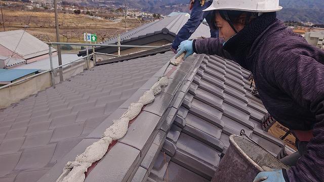 松川町瓦葺き替え棟工事6