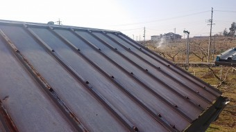 松川町トタン屋根洗浄2