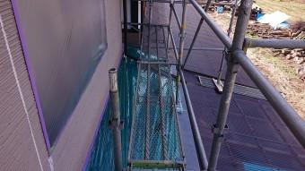 松川町外壁屋根塗装養生作業2