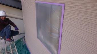 松川町外壁屋根塗装養生作業3