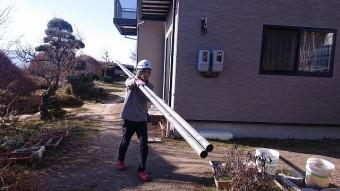松川町外壁とトタン屋根塗装足場2