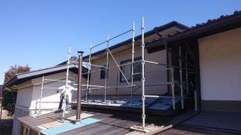 松川町外壁とトタン屋根塗装足場4