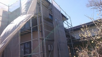 松川町外壁とトタン屋根塗装足場5