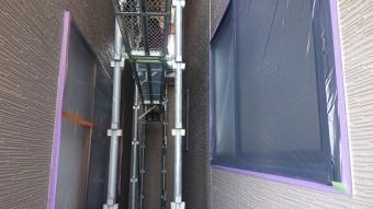 松川町外壁屋根塗装養生作業4