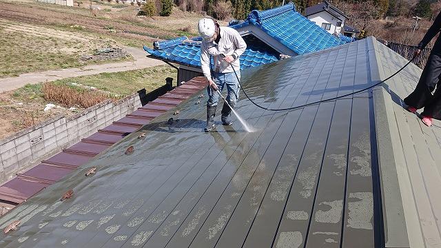 中川村トタン屋根塗装洗浄6