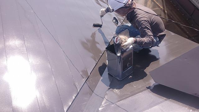 中川村トタン屋根塗装上塗り4