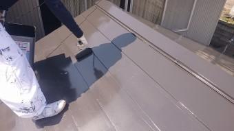 中川村トタン屋根塗装上塗り5