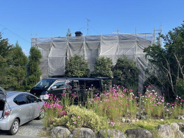 松川町外壁屋根塗装足場